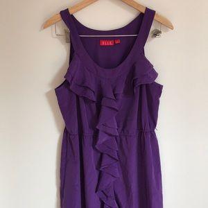 Elle Ruffle Front Silky Purple Dress